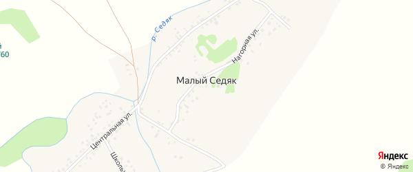 Школьный переулок на карте села Малого Седяка с номерами домов