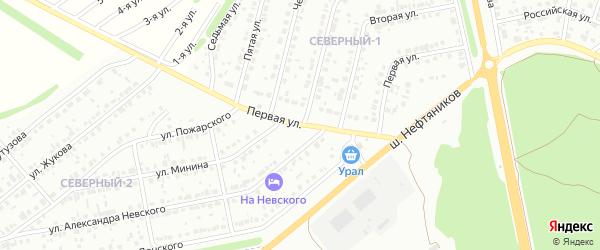 Первая улица на карте района Северного микрорайона с номерами домов
