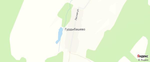 Карта деревни Гурдыбашево в Башкортостане с улицами и номерами домов