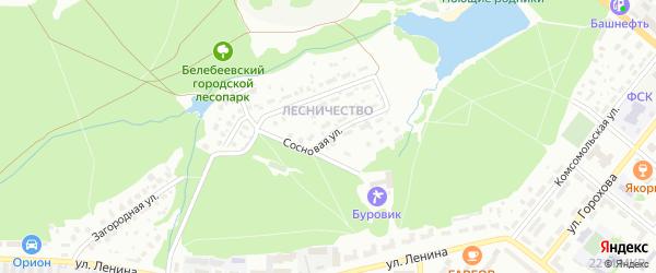 Сосновая улица на карте Белебея с номерами домов