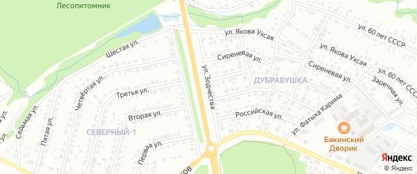 Улица Зодчества на карте Белебея с номерами домов