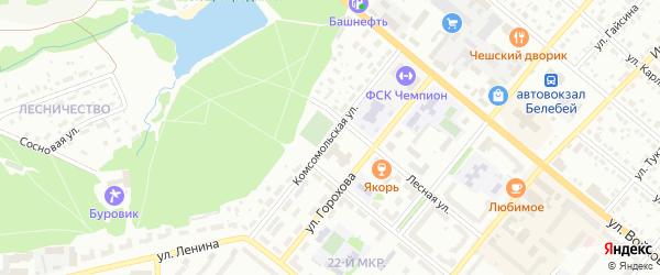 Комсомольская улица на карте Белебея с номерами домов