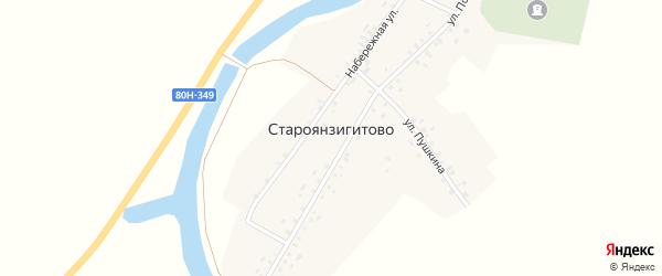 Переулок Дружбы на карте села Староянзигитово с номерами домов