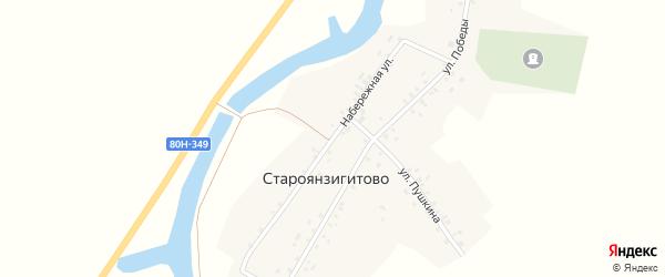 Набережная улица на карте села Староянзигитово с номерами домов