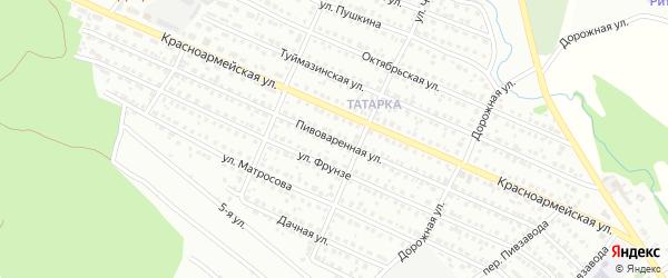 Пивоваренная улица на карте Белебея с номерами домов