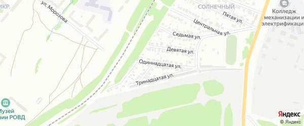 Одиннадцатая улица на карте района Чайковки микрорайона с номерами домов