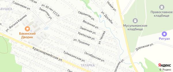Уральская улица на карте Белебея с номерами домов