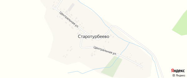 Центральная улица на карте села Старотурбеево с номерами домов