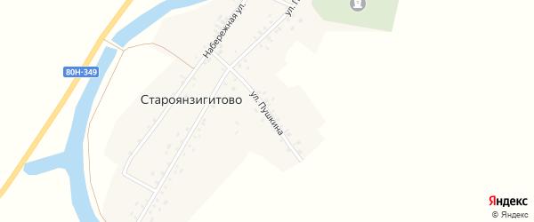 Улица Пушкина на карте села Староянзигитово с номерами домов