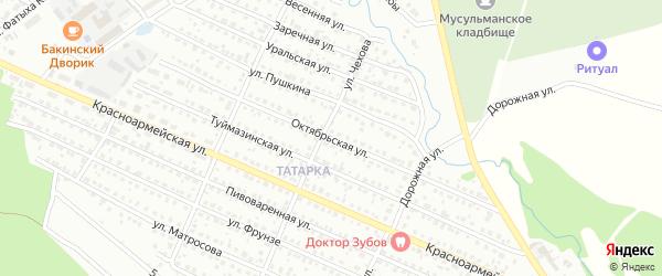 Октябрьская улица на карте Белебея с номерами домов