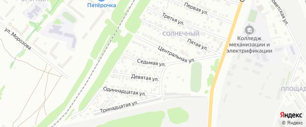 Седьмая улица на карте района Солнечного микрорайона с номерами домов