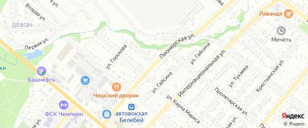 Пионерская улица на карте Белебея с номерами домов