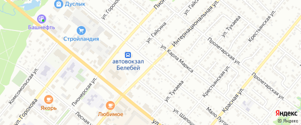Мало Луговой переулок на карте Белебея с номерами домов