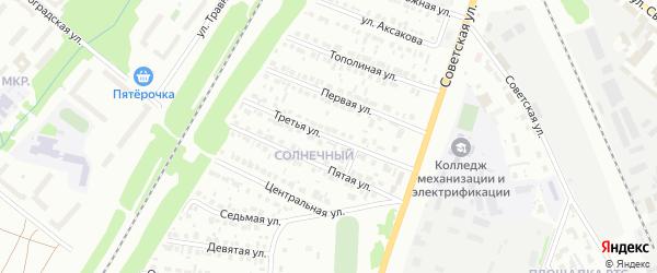Третья улица на карте района Солнечного микрорайона с номерами домов