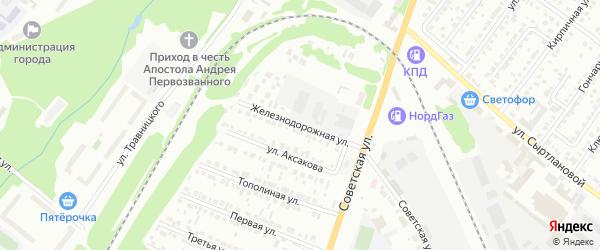 Железнодорожная улица на карте Белебея с номерами домов