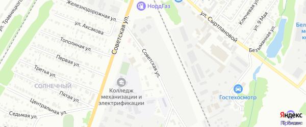 Советская улица на карте села ЦУ племзавода им Максима Горького с номерами домов