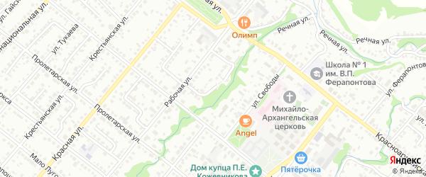 Рабочий переулок на карте Белебея с номерами домов