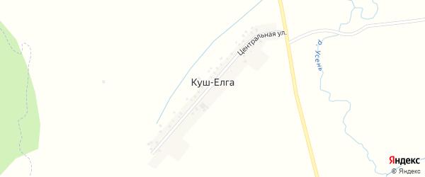 Центральная улица на карте деревни Куша-Елги с номерами домов
