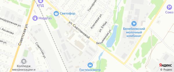 Улица Сыртлановой на карте Белебея с номерами домов