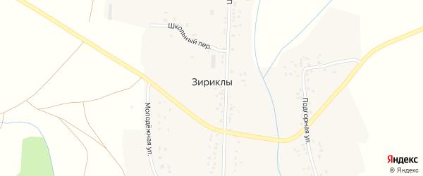 Школьный переулок на карте села Зириклы с номерами домов