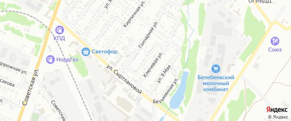 Ключевой переулок на карте Белебея с номерами домов