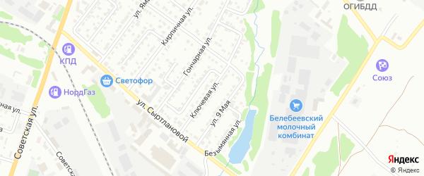 Ключевая улица на карте Белебея с номерами домов