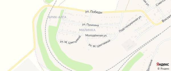 Улица М.Цветаевой на карте села Аксаково с номерами домов