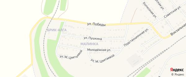 Улица Пушкина на карте села Аксаково с номерами домов