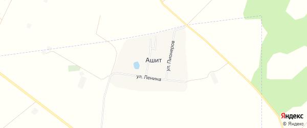 Карта деревни Ашита в Башкортостане с улицами и номерами домов