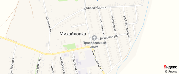 Шоссейная улица на карте села Михайловки с номерами домов