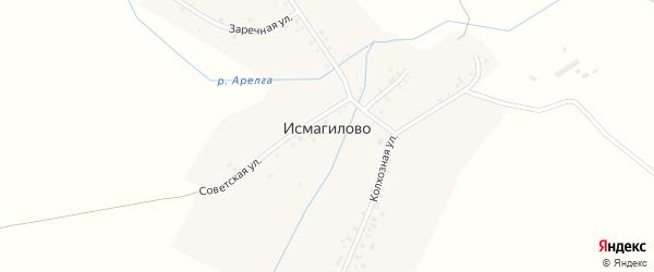 Заречная улица на карте деревни Исмагилово с номерами домов