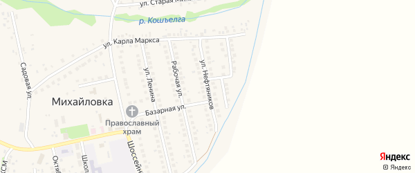 Улица Нефтяников на карте села Михайловки с номерами домов