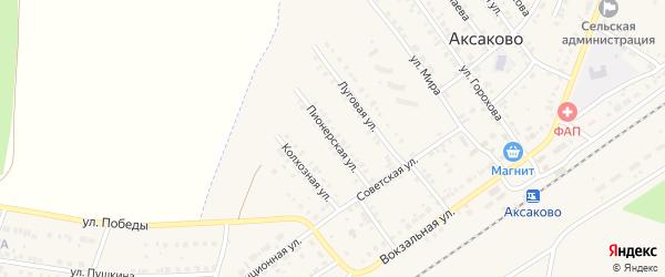 Пионерская улица на карте села Аксаково с номерами домов