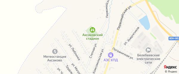 Спортивная улица на карте села Аксаково с номерами домов