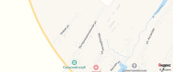 Интернациональная улица на карте села Надеждино с номерами домов