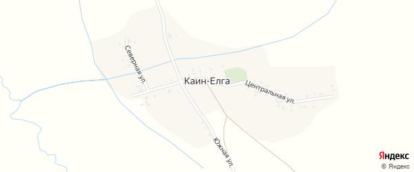 Центральный переулок на карте деревни Каина-Елги с номерами домов