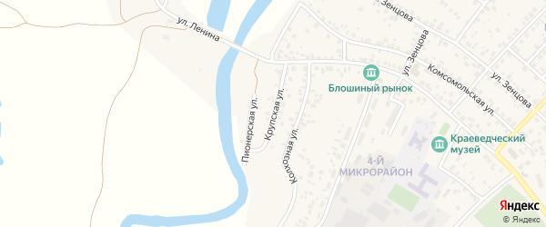 Крупская улица на карте села Николо-Березовки с номерами домов