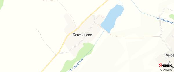 Карта села Биктышево в Башкортостане с улицами и номерами домов