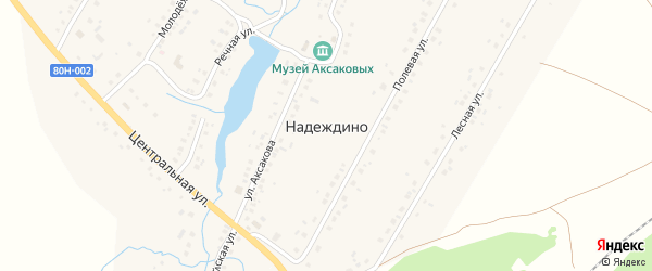 Переулок Аксакова на карте села Надеждино с номерами домов