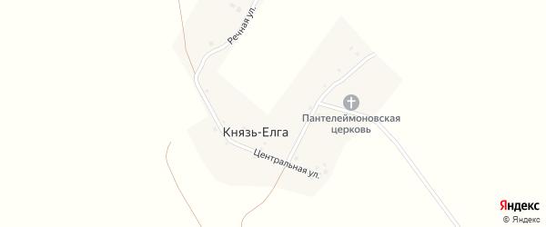 Центральная улица на карте деревни Князя-Елги с номерами домов