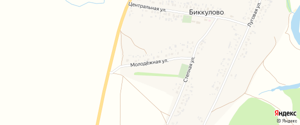Молодежная улица на карте села Биккулово с номерами домов