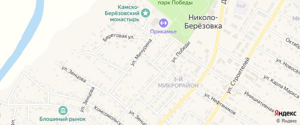 Переулок Победы на карте села Николо-Березовки с номерами домов