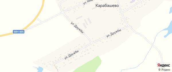 Улица Дружбы на карте села Карабашево с номерами домов