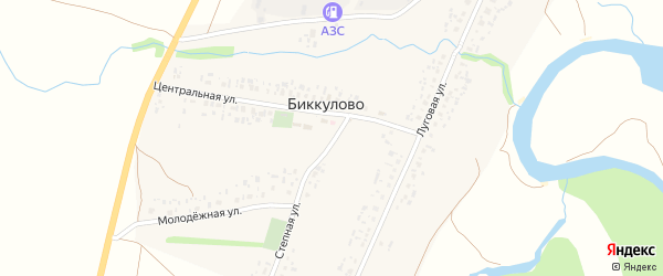 Степная улица на карте села Биккулово с номерами домов