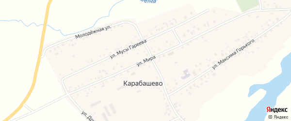 Улица Мира на карте села Карабашево с номерами домов