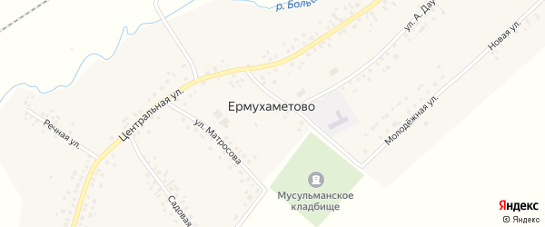 Молодежная улица на карте села Ермухаметово с номерами домов