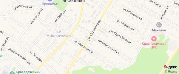 Переулок Строителей на карте села Николо-Березовки с номерами домов