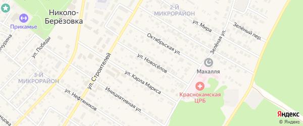 Улица Новоселов на карте села Николо-Березовки с номерами домов