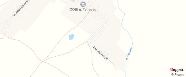 Школьная улица на карте села Тупеево с номерами домов