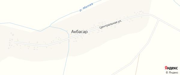 Центральная улица на карте деревни Акбасара с номерами домов